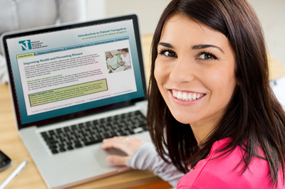 image of a female patient navigator learning online
